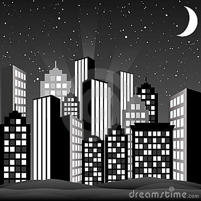 Free Black And White Cityscape Royalty Free Stock Image - 10887456