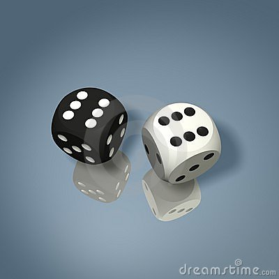 Free Black And White Dice Win Combination Royalty Free Stock Image - 5939246