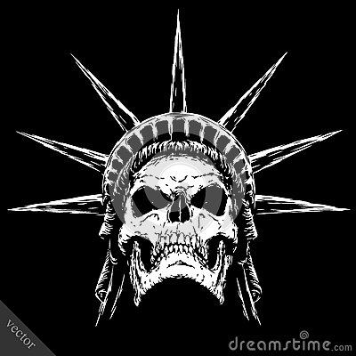 Free Black And White Engrave Evil Vector Skull Face Royalty Free Stock Photography - 71927207
