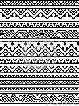 Free Black And White Ethnic Geometric Aztec Seamless Borders Pattern, Vector Royalty Free Stock Image - 56101916