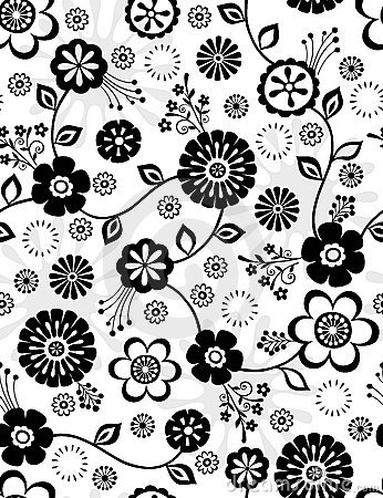 Free Black And White Flowers Seamless Repeat Pattern Stock Image - 12142571