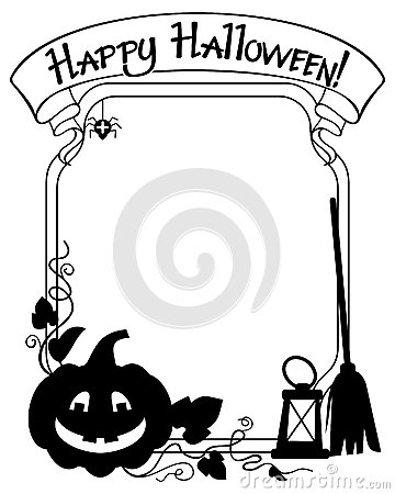 Free Black And White  Frame With Halloween Pumpkin Silhouette Stock Image - 78590971