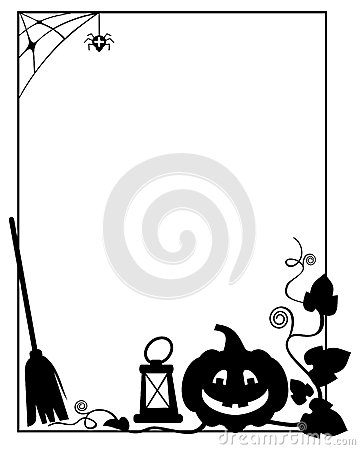 Free Black And White  Frame With Halloween Pumpkin Silhouette Royalty Free Stock Photo - 78591765