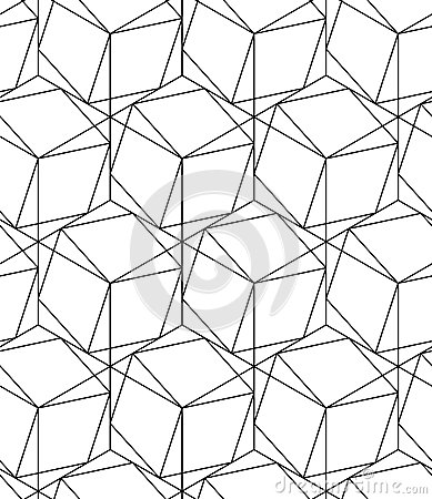 Free Black And White Geometric Seamless Pattern With Line And Hexagon Stock Images - 55881664