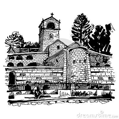 Free Black And White Hand Drawing Of Cetinje Monastery - Ancient Capi Stock Image - 77293391