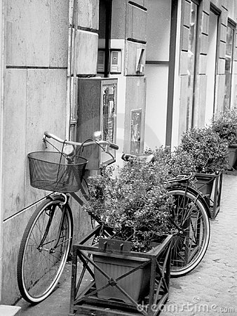 Free Black And White Image Of An Old Bicycle With A Basket In Rome Stock Photo - 1472160