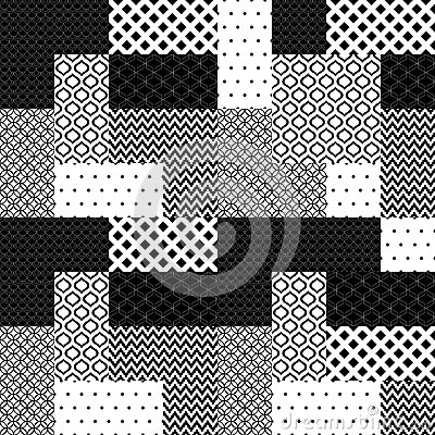 Free Black And White Patchwork Quilted Geometric Seamless Pattern, Vector Stock Image - 71631321