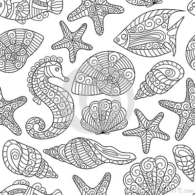 Free Black And White Seamless Pattern For Coloring Book. Sea Life Stock Photo - 72619910