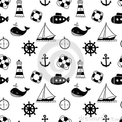 Free Black And White Seamless Pattern With Whales, Sailing Ships, Wheels, Lifebuoys And Lighthouses. Stock Photo - 77455230