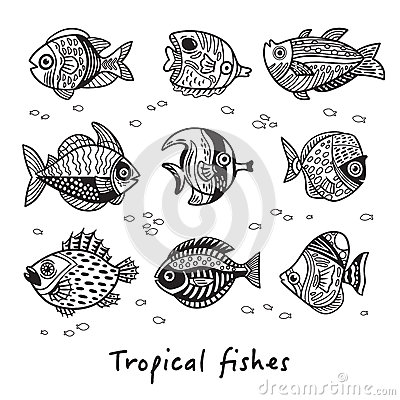 Free Black And White Set Of Tropical Fishes. Vector Illustration Stock Images - 87713014