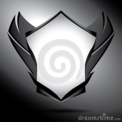 Free Black And White Shield With Wings Royalty Free Stock Image - 32358726
