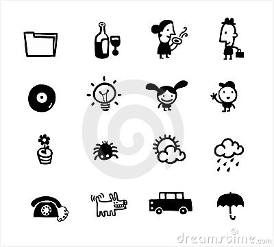 Free Black And White Simple Icons House Colection Royalty Free Stock Image - 12109986