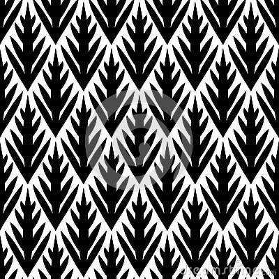 Free Black And White Simple Trees Geometric Ikat Seamless Pattern, Vector Royalty Free Stock Photography - 40597897