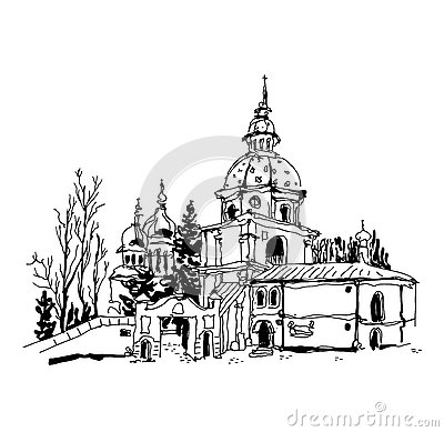 Free Black And White Sketch Drawing Of Vydubychi Monastery In Kyiv Uk Royalty Free Stock Images - 76415629