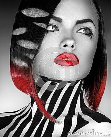 Free Black And White Studio Photo Og Fashion Model With Stripes On Bo Stock Photography - 36623912