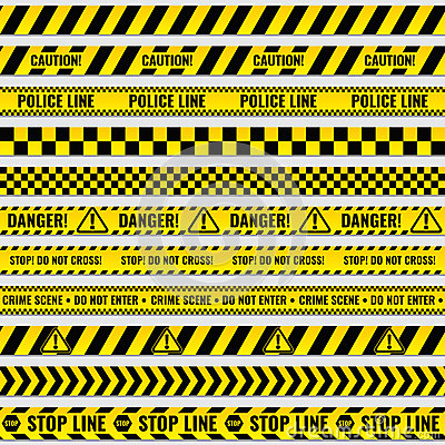 Free Black And Yellow Police Stripe Border, Construction, Danger Caution Seamless Tapes Vector Set Royalty Free Stock Photos - 86575918