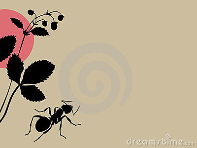 Black ant on brown background