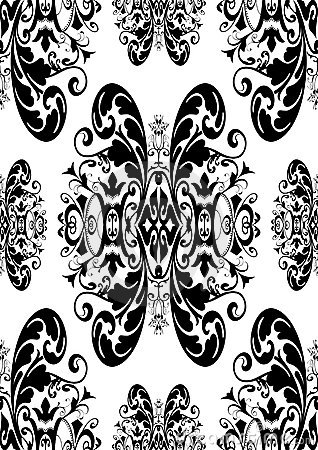 Black antique damask