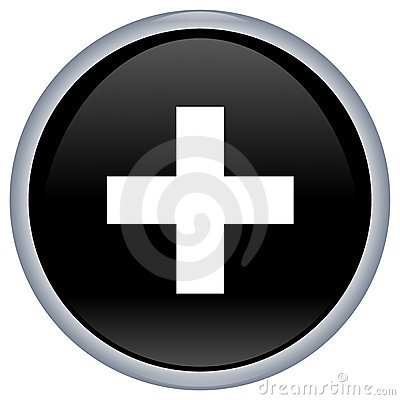 Black aqua button with white cross