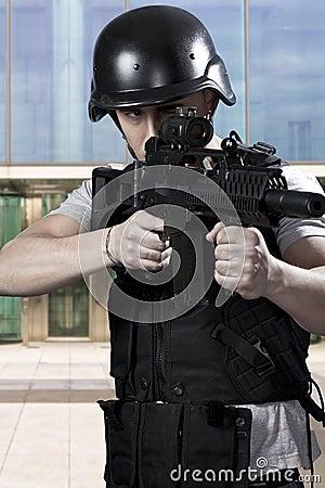 Black armed policemen