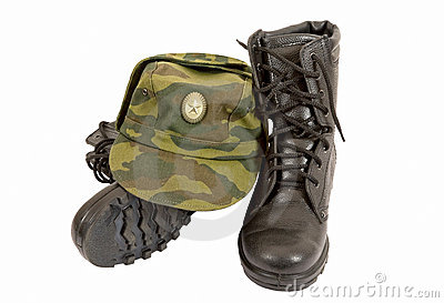 Black Army boots and cap