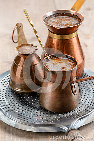 Black aroma coffee in pots