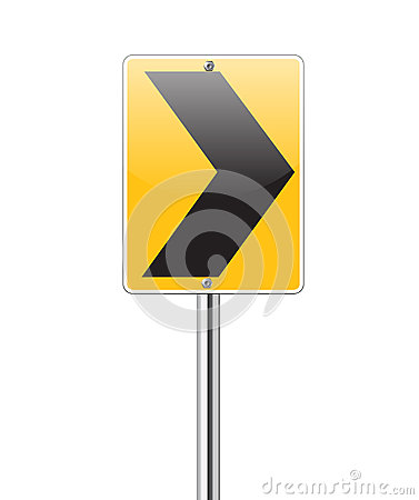 Black arrow turn right traffic sign on white
