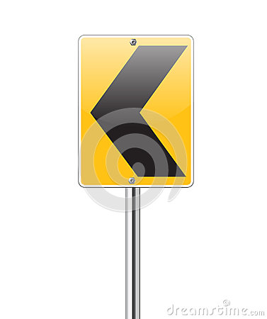 Black arrows pointing left on yellow traffic sign