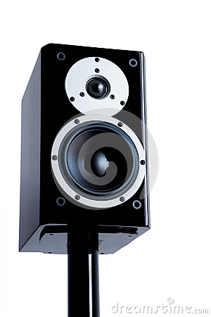 Black audio speakers on black stand