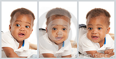 Black Baby Boy Facial Expression Collage