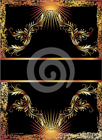 Black background with copper ornament