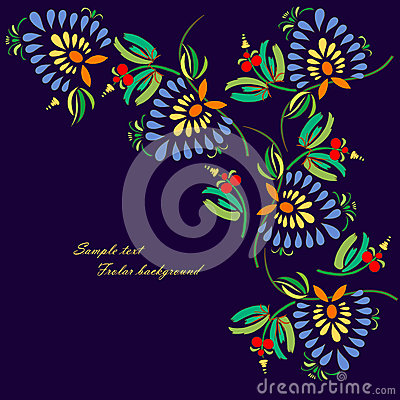 Black background with decorative bright flowers
