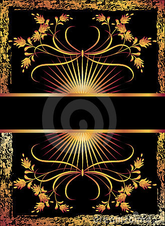 Black background with luxurious golden ornament.