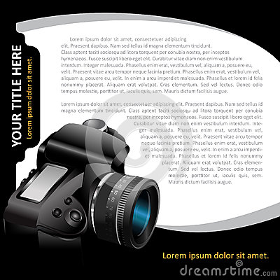 Black  background with modern DSLR camera for brochure