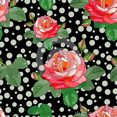 Free Black Background Of Roses And Circles-01 Stock Photo - 75048520