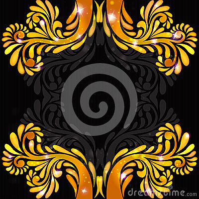 Black background orange banner pattern