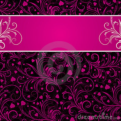 Black background with pink decorative ornaments