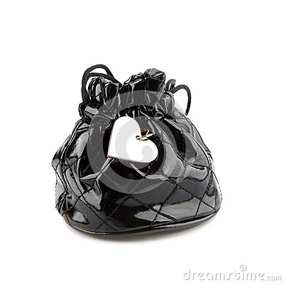 Black bag with heart pendant