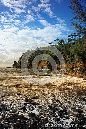 Black Beach in Big Island, Hawaii