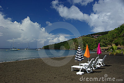 Black beach on Guadeloupe