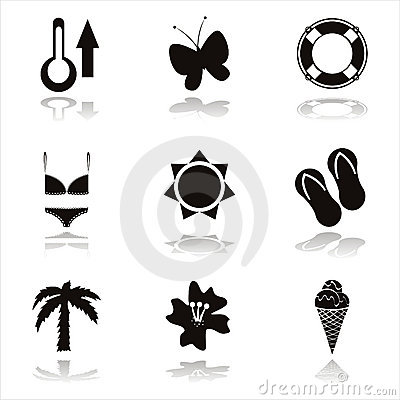 Black beach icons