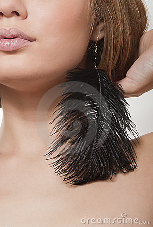 Black beautiful earrings-feathers