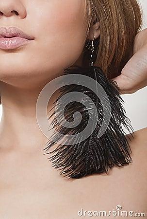 Black beautiful earrings-feathers