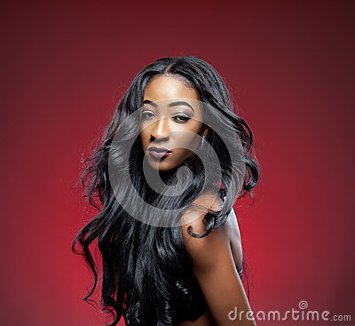 Free Black Beauty With Elegant Curly Hair Stock Image - 36486861