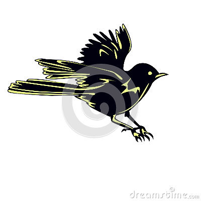 Black Bird Sparrow In Flight