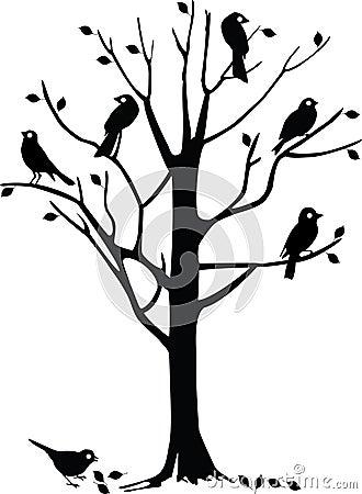 Black Birds On Tree Royalty Free Stock Image Image 7287636
