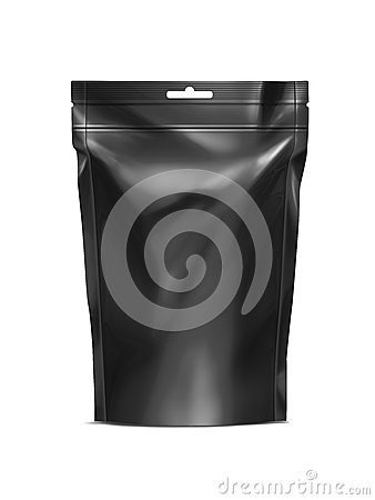 Free Black Blank Doy-pack, Doypack Foil Food Or Drink Bag Packaging With Zip-lock Stock Photography - 48280422