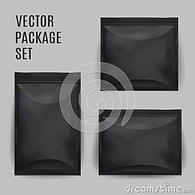 Free Black Blank Foil Food Snack Sachet Bag Packaging  Stock Photo - 75346000