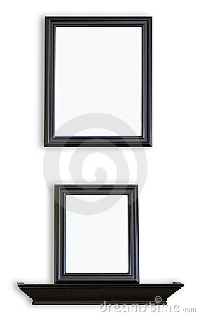 Free Black Blank Picture Frames And Shelf Royalty Free Stock Photo - 6072235
