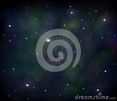 Black, blue and green space illustration background with a bright white stars Cartoon Illustration